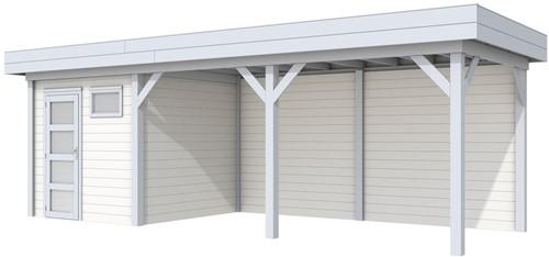 Blokhut Kuifmees met luifel 500, afm. 734 x 253 cm, plat dak, houtdikte 28 mm. - basis en deur grijs, wand wit gespoten