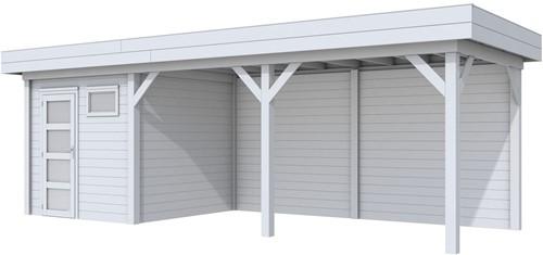 Blokhut Kuifmees met luifel 500, afm. 750 x 250 cm, plat dak, houtdikte 28 mm. - volledig grijs gespoten