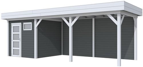 Blokhut Kuifmees met luifel 500, afm. 734 x 253 cm, plat dak, houtdikte 28 mm. - basis en deur grijs, wand antraciet gespoten