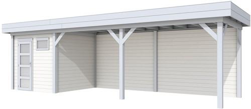 Blokhut Kuifmees met luifel 600, afm. 834 x 253 cm, plat dak, houtdikte 28 mm. - basis en deur grijs, wand wit gespoten