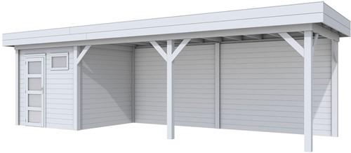 Blokhut Kuifmees met luifel 600, afm. 834 x 253 cm, plat dak, houtdikte 28 mm, - volledig grijs gespoten