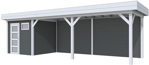 Blokhut Kuifmees met luifel 600, afm. 834 x 253 cm, plat dak, houtdikte 28 mm. - basis en deur grijs, wand antraciet gespoten