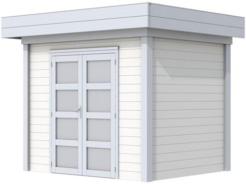 Blokhut Koekoek, afm. 303 x 203 cm, plat dak, houtdikte 28 mm. - basis en deur grijs, wand wit gespoten