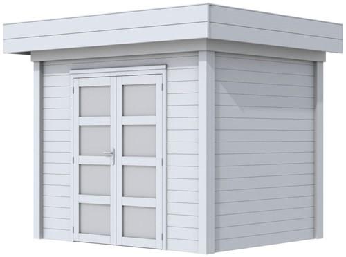 Blokhut Koekoek, afm. 303 x 203 cm, plat dak, houtdikte 28 mm. - volledig grijs gespoten