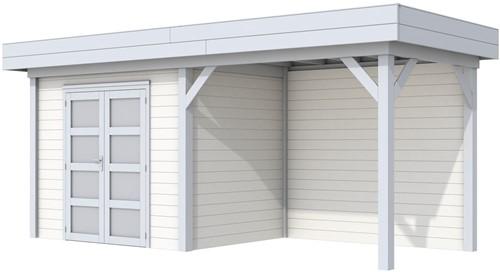 Blokhut Koekoek met luifel 300, afm. 596 x 203 cm, plat dak, houtdikte 28 mm. - basis en deur grijs, wand wit gespoten