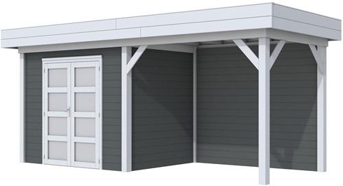 Blokhut Koekoek met luifel 300, afm. 596 x 203 cm, plat dak, houtdikte 28 mm. - basis en deur grijs, wand antraciet gespoten
