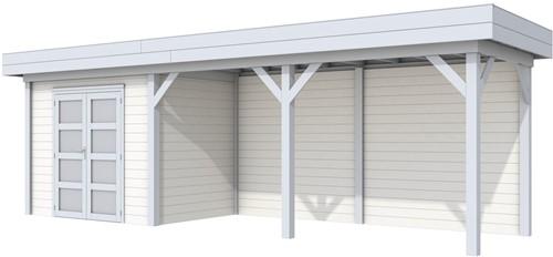 Blokhut Koekoek met luifel 500, afm. 787 x 203 cm, plat dak, houtdikte 28 mm. - basis en deur grijs, wand wit gespoten