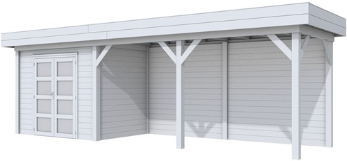 Blokhut Koekoek met luifel 500, afm. 787 x 203 cm, plat dak, houtdikte 28 mm. - volledig grijs gespoten