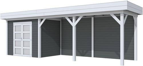 Blokhut Koekoek met luifel 500, afm. 787 x 203 cm, plat dak, houtdikte 28 mm. - basis en deur grijs, wand antraciet gespoten