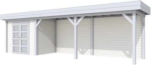Blokhut Koekoek met luifel 600, afm. 900 x 200 cm, plat dak, houtdikte 28 mm. - basis en deur grijs, wand wit gespoten