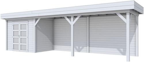 Blokhut Koekoek met luifel 600, afm. 900 x 200 cm, plat dak, houtdikte 28 mm. - volledig grijs gespoten