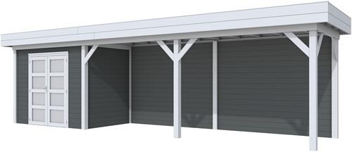 Blokhut Koekoek met luifel 600, afm. 887 x 203 cm, plat dak, houtdikte 28 mm. - basis en deur grijs, wand antraciet gespoten