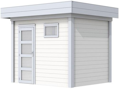 Blokhut Korhoen, afm. 303 x 203 cm, plat dak, houtdikte 28 mm. - basis en deur grijs, wand wit gespoten