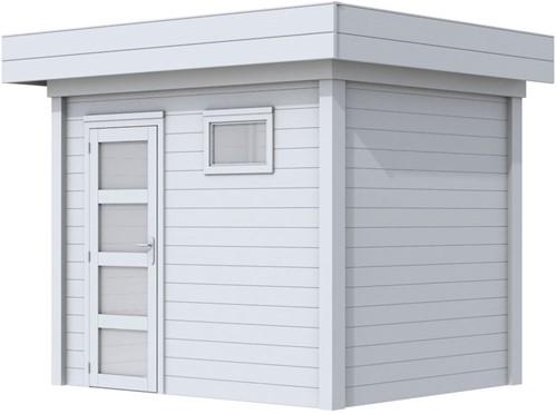 Blokhut Korhoen, afm. 303 x 203 cm, plat dak, houtdikte 28 mm. - volledig grijs gespoten