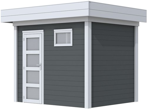 Blokhut Korhoen, afm. 303 x 203 cm, plat dak, houtdikte 28 mm. - basis en deur grijs, wand antraciet gespoten