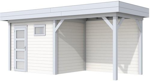 Blokhut Korhoen met luifel van 300 cm, afm. 600 x 200 cm, plat dak, houtdikte 28 mm. - basis en deur grijs, wand wit gespoten
