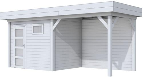 Blokhut Korhoen met luifel van 300 cm, afm. 600 x 200 cm, plat dak, houtdikte 28 mm. - volledig grijs gespoten
