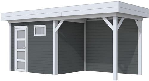 Blokhut Korhoen met luifel van 300 cm, afm. 596 x 203 cm, plat dak, houtdikte 28 mm. - basis en deur grijs, wand antraciet gespoten