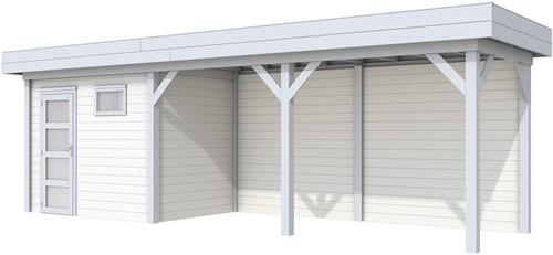 Blokhut Korhoen met luifel van 500 cm, afm. 800 x 200 cm, plat dak, houtdikte 28 mm. - basis en deur grijs, wand wit gespoten