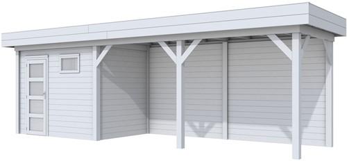 Blokhut Korhoen met luifel van 500 cm, afm. 787 x 203 cm, plat dak, houtdikte 28 mm. - volledig grijs gespoten