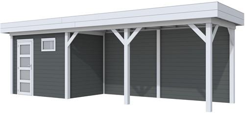 Blokhut Korhoen met luifel van 500 cm, afm. 787 x 203 cm, plat dak, houtdikte 28 mm. - basis en deur grijs, wand antraciet gespoten