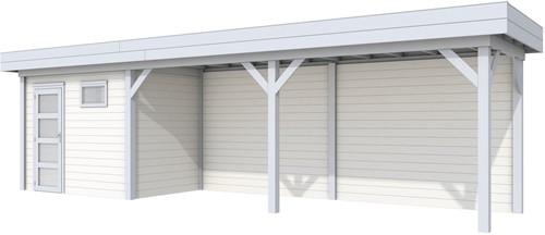 Blokhut Korhoen met luifel van 600 cm, afm. 900 x 200 cm, plat dak, houtdikte 28 mm. - basis en deur grijs, wand wit gespoten