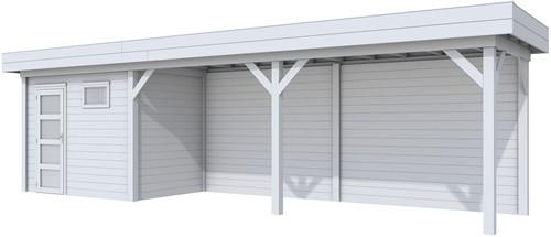 Blokhut Korhoen met luifel van 600 cm, afm. 887 x 203 cm, plat dak, houtdikte 28 mm. - volledig grijs gespoten