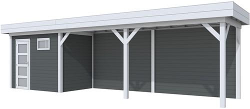 Blokhut Korhoen met luifel van 600 cm, afm. 900 x 200 cm, plat dak, houtdikte 28 mm. - basis en deur grijs, wand antraciet gespoten