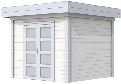Blokhut Bonte Specht, afm. 300 x 250 cm, plat dak, houtdikte 28 mm. - basis en deur grijs, wand wit gespoten