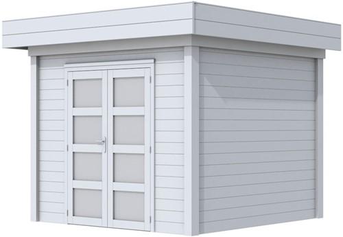 Blokhut Bonte Specht, afm. 300 x 250 cm, plat dak, houtdikte 28 mm. - volledig grijs gespoten