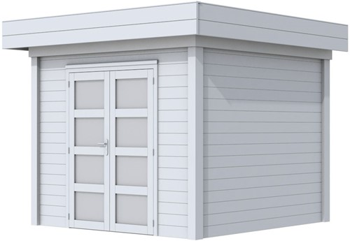 Blokhut Bonte Specht, afm. 303 x 253 cm, plat dak, houtdikte 28 mm. - volledig grijs gespoten