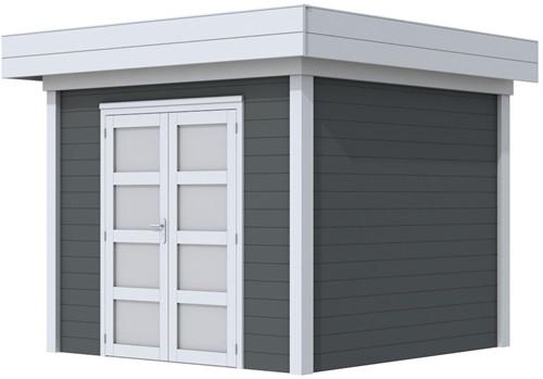 Blokhut Bonte Specht, afm. 300 x 250 cm, plat dak, houtdikte 28 mm. - basis en deur grijs, wand antraciet gespoten