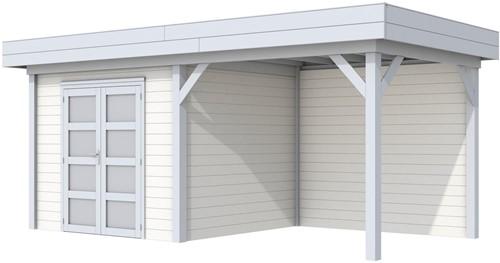 Blokhut Bonte Specht met luifel 300, afm. 596 x 253 cm, plat dak, houtdikte 28 mm. - basis en deur grijs, wand wit gespoten