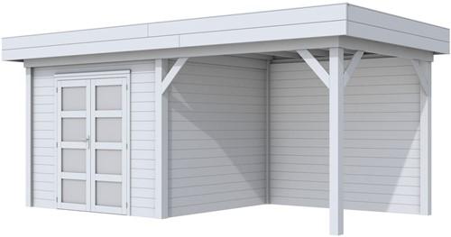 Blokhut Bonte Specht met luifel 300, afm. 596 x 253 cm, plat dak, houtdikte 28 mm. - volledig grijs gespoten