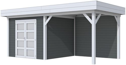 Blokhut Bonte Specht met luifel 300, afm. 596 x 253 cm, plat dak, houtdikte 28 mm. - basis en deur grijs, wand antraciet gespoten