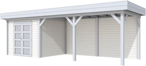 Blokhut Bonte Specht met luifel 500, afm. 787 x 253 cm, plat dak, houtdikte 28 mm - basis en deur grijs, wand wit gespoten