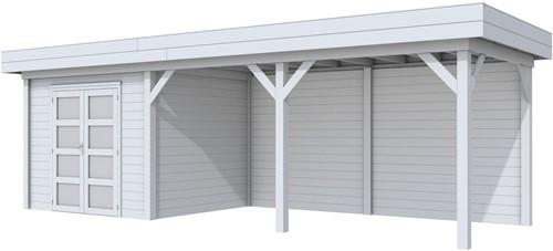 Blokhut Bonte Specht met luifel 500, afm. 787 x 253 cm, plat dak, houtdikte 28 mm - volledig grijs gespoten