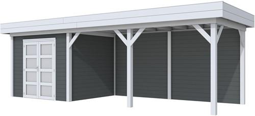 Blokhut Bonte Specht met luifel 500, afm. 787 x 253 cm, plat dak, houtdikte 28 mm - basis en deur grijs, wand antraciet gespoten