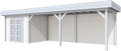 Blokhut Bonte Specht met luifel 600, afm. 887 x 253 cm, plat dak, houtdikte 28 mm. - basis en deur grijs, wand wit gespoten