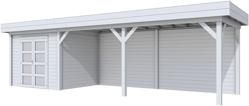 Blokhut Bonte Specht met luifel 600, afm. 887 x 253 cm, plat dak, houtdikte 28 mm. - volledig grijs gespoten