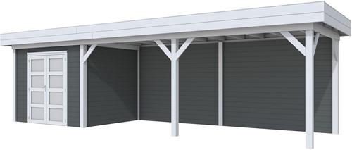 Blokhut Bonte Specht met luifel 600, afm. 887 x 253 cm, plat dak, houtdikte 28 mm. - basis en deur grijs, wand antraciet gespoten