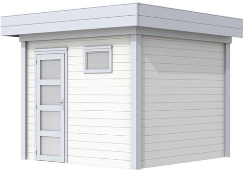 Blokhut Bonte Kraai, afm. 303 x 253 cm, plat dak, houtdikte 28 mm. - basis en deur grijs, wand wit gespoten