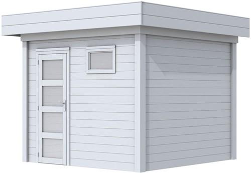 Blokhut Bonte Kraai, afm. 303 x 253 cm, plat dak, houtdikte 28 mm. - volledig grijs gespoten