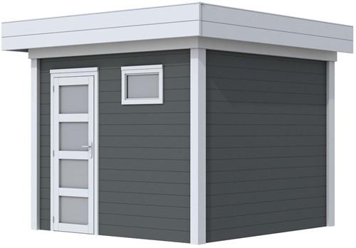 Blokhut Bonte Kraai, afm. 303 x 253 cm, plat dak, houtdikte 28 mm. - basis en deur grijs, wand antraciet gespoten