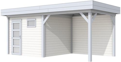 Blokhut Bonte Kraai met luifel 300, afm. 596 x 253 cm, plat dak, houtdikte 28 mm. - basis en deur grijs, wand wit gespoten