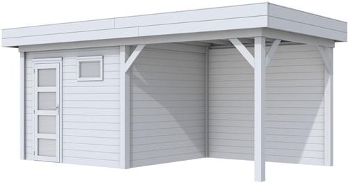 Blokhut Bonte Kraai met luifel 300, afm. 596 x 253 cm, plat dak, houtdikte 28 mm. - volledig grijs gespoten