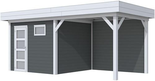 Blokhut Bonte Kraai met luifel 300, afm. 596 x 253 cm, plat dak, houtdikte 28 mm. - basis en deur grijs, wand antraciet gespoten