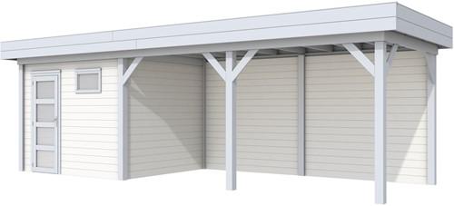 Blokhut Bonte Kraai met luifel 500, afm. 787 x 253 cm, plat dak, houtdikte 28 mm. - basis en deur grijs, wand wit gespoten