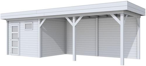 Blokhut Bonte Kraai met luifel 500, afm. 787 x 253 cm, plat dak, houtdikte 28 mm. - volledig grijs gespoten