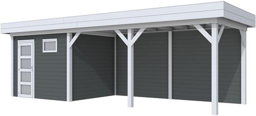 Blokhut Bonte Kraai met luifel 500, afm. 787 x 253 cm, plat dak, houtdikte 28 mm. - basis en deur grijs, wand antraciet gespoten